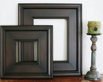 Sizes 8x10 to 12x12 Wood Picture Frame / Black Walnut  / Plein Air Style