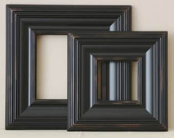 Sizes 4x4 to 8x8 Wood Picture Frame / Tuscan Black  / Whistler Style
