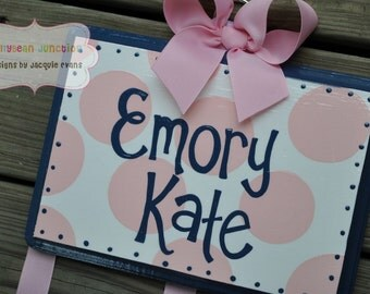 HairBow Holder --- SIMPLICITY Design - Handpainted and Personalized Bow Holder - Navy Blue and Pink Bow Organizer