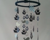 Blue and Gray Pirate Ship Adorable Nautical Sailboat Pirate Sea Ocean Baby Mobile