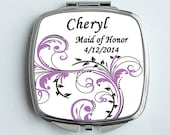 Bridesmaids Gifts-Compact Mirror-Pocket Mirror-Personalized - Scroll design - Choose your own color - Match your Wedding color