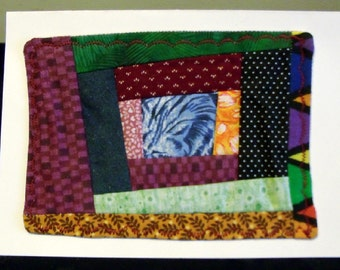 All Occasion Fabric Mini Crazy Patch Quiilt Greeting Card (C-519)