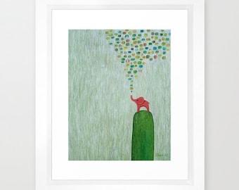 Framed Art Print Original Abstract Baby Elephant Red Seafoam Green Home Decor
