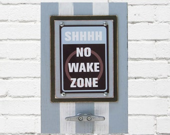 Framed Nautical Nursery Print Shhhh No Wake Zone in Pale Blue and Brown