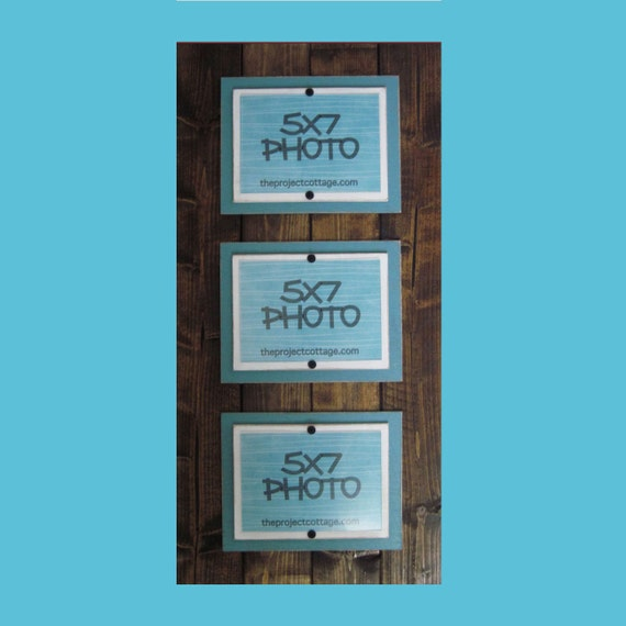 Triple Long Dark Walnut Stained and Turquoise Plank Frame for 5x7 Pictures