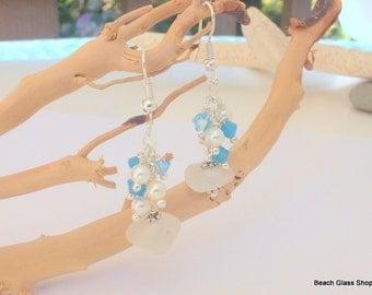 SALE - Sea Glass Earrings - Beach Glass - Crystal and Pearl Earrings - Lake Erie Beach Glass