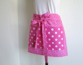 Half Apron - Pink Polka Dot Retro Hostess or Vendor Half Apron, great for entertaining in....very mod, you will stand out in this apron