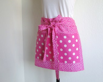 Pink Polka Dot Retro Hostess or Vendor Half Apron, great for entertaining in....very mod, As see on an episode of Food Network's Cake Wars