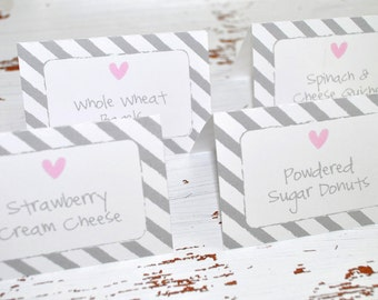 Girls Baby Shower Food Label Buffet Cards or Placecards - Pink and Gray - Baby Shower, Candy Buffet Labels - Heart and Stripe - Set of 12