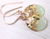 mint earrings with gold leaf and glitter on 14k gold filled earwires - glitter resin earrings