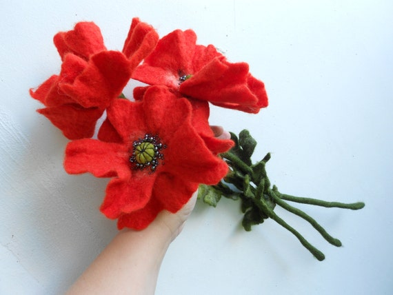 Fire Red Poppy Wool Felted Flower Green Stem OOAK