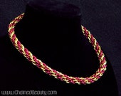 Red and Gold Chainmaille Torc