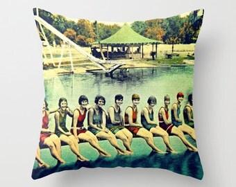 Swim Art Pillow Beach Pillow Decorative Throw Pillow Cover Art Deco Beach Decor pool house Old Florida Pillow Nautical Decor Swim Swimming