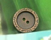 Metal Buttons - Stone Texture Border Metal Buttons , Copper Color , 2 Holes , 0.87 inch , 10 pcs