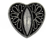 Metal Buttons - Flower Carving Heart Metal Buttons , Antique Silver Color , Shank , 0.63 inch , 2 pcs