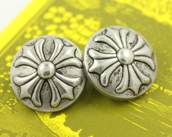 Metal Buttons - Baroque Cross Metal Buttons , Retro Silver Color , Shank , 0.79 inch , 10 pcs