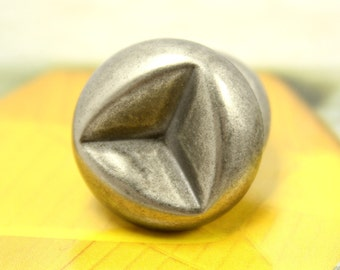 Metal Buttons - Triangle Concave Metal Buttons , Nickel Silver Color , Shank , 0.79 inch , 10 pcs