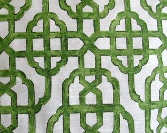 IMPERIAL JADE on white designer, drapery/bedding/upholstery ikat fabric