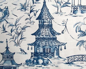 PAGODAS SEASIDE blues designer, drapery/bedding/upholstery fabric