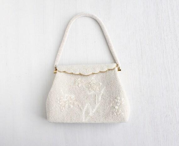 SALE - Vintage White Microbeaded Purse - 1960s White Glass Bead Elegant Bridal Bag / White Spring Garden