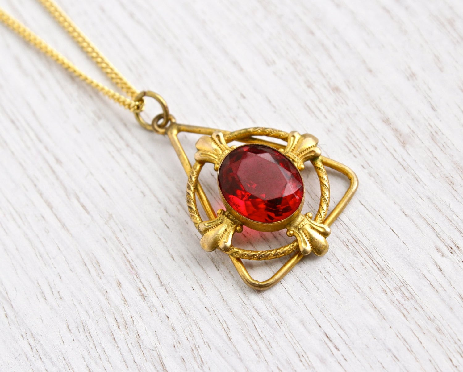 SALE Antique Ruby Red Stone Necklace Edwardian 1900s Gold