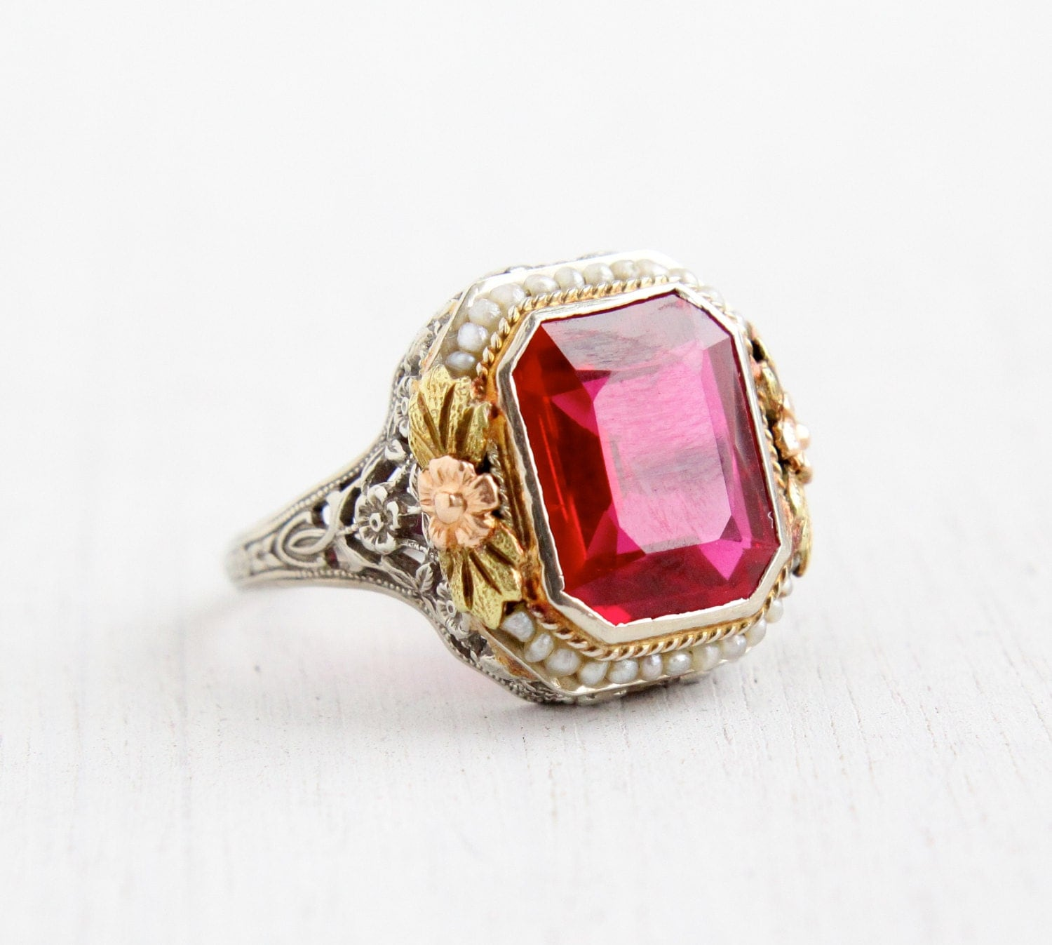 Antique 14k White Gold Ruby Amp Seed Pearl Ring Size 8 Vintage