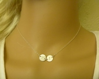 Personalized Disc Necklace - Two Initial Necklace - Friendship Necklace - 2 3 4 5 6 - Sisters Necklace - Mom necklace - Kids Initials