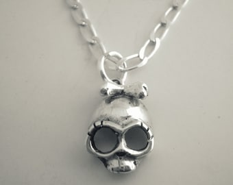 Sterling Silver Pendant  Skull with Bow