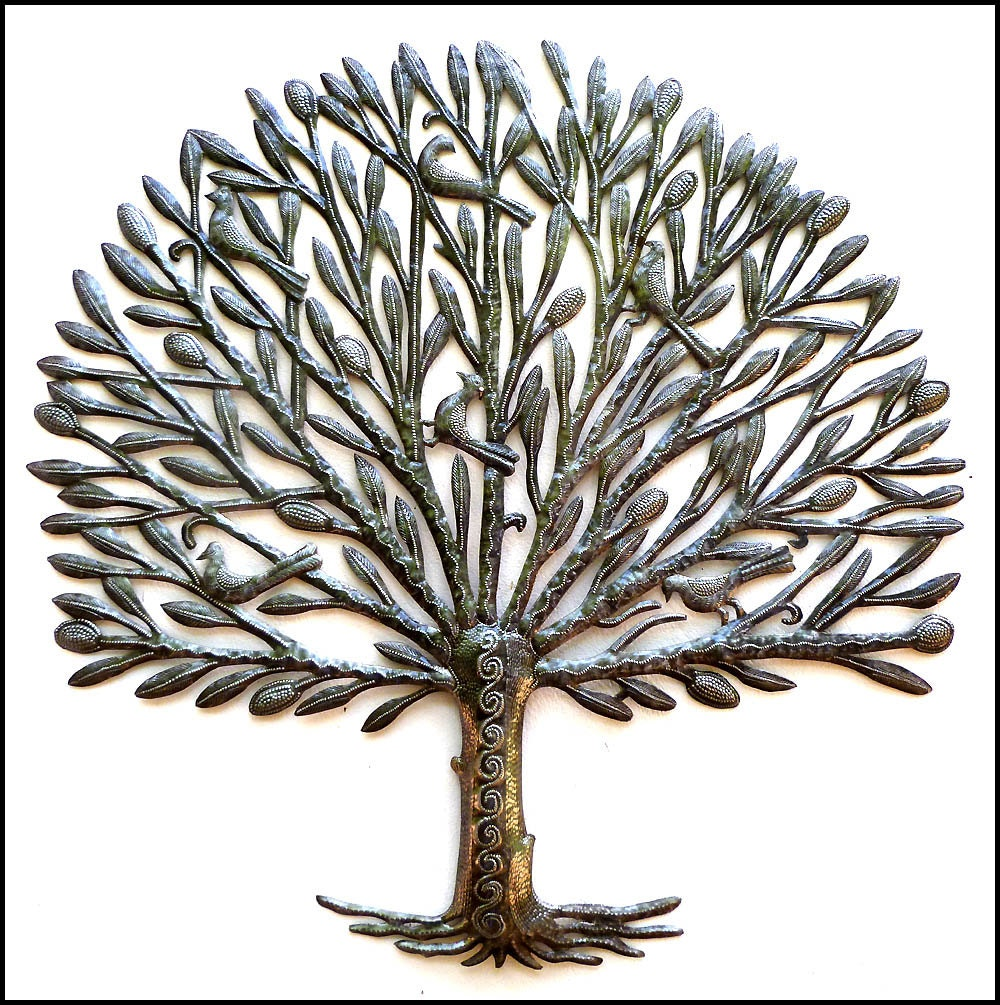 Metal art metal wall art tree metal tree wall hanging for Tree wall art