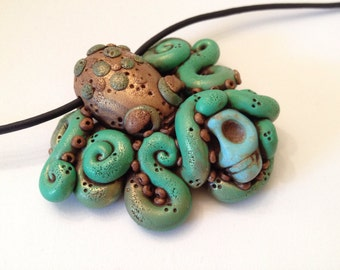 Polymer Clay Green Octopus Kraken Necklace
