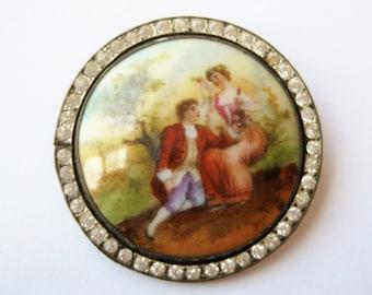 Vintage Antique Czech Porcelain Jeweled Rhinestone Victorian Scene Brooch Pin
