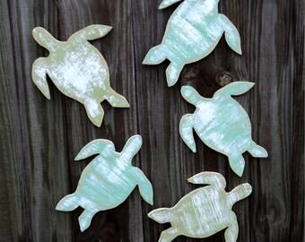 5 Beach-y Sea Turtles, Coastal Living, Nautical Wall Decor, You Choose Color