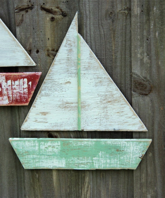 Boat Home Decor: Beach-y Weathered Sail Boat Lake House Decor Coastal Living