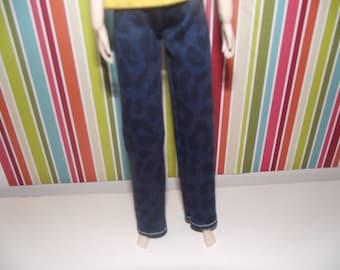 Dark blue with black animal print jean pants for pullip
