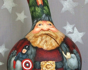 Classic Superheroes, Santa Claus gourd, hand painted, 12 inches tall