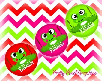 INSTANT DOWNLOAD-Digital Bottlecaps-Editables-Jewelry-Keychains-Frogs-Zipper pulls