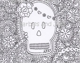 Day of the Dead Sugar Skulls  printable adult coloring page, dia de los meurtos printable coloring page