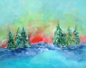 Original Landscape Painting, Ontario Rock Sunrise, Trees,  Water, Clouds