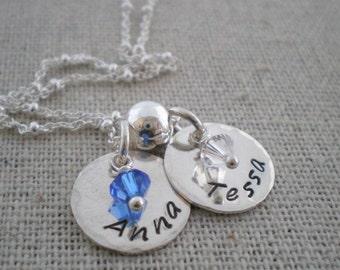 stamped name tag necklace - hand stamped jewelry - swarovski birthstone necklace
