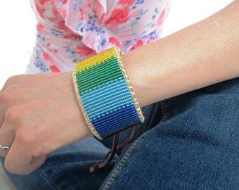 Rainbow Gay Pride Beaded Bracelet on Deer Hide Leather