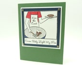 Men's Valentine's Day Card, Men's Handmade Paper Greeting Card, Classy Men's Card, Grilling Outdoors Card