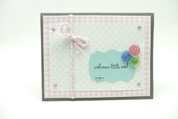 Baby Girl Announcement Card, Baby Girl Congratulations, Baby Girl Shower Card, Pastel Baby Card, Button Card, Handmade Paper Greeting Card