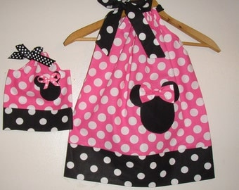 """Dress Minnie Mouse Pink dots pillowcase dress appliqued matching doll dress fit 18"""" doll  sizes 5t, 6, 7, 8, 10"""