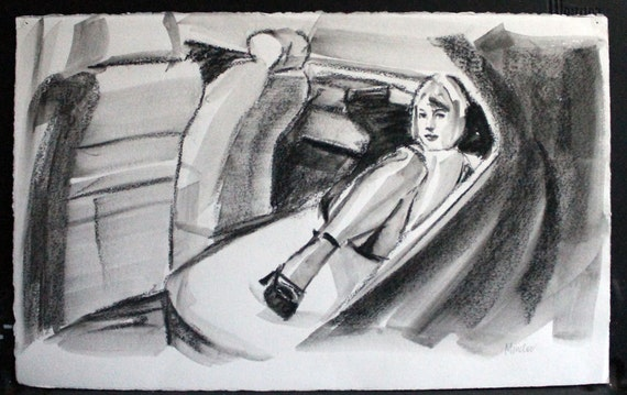 "Everybody Volunteered to Drive Her Home, watercolor on Rives BFK 11""x17"" by Kenney Mencher"