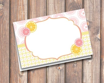 "Pink Lemonade Printable Food Tags or Placecards 3.5 x 2.25"" Tent-Style - INSTANT DOWNLOAD"