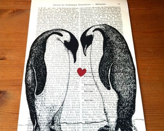 Penguin Love Valentine Wedding Anniversary Engagement Gift Personalized Art Print on Antique 1896 Dictionary Book Page