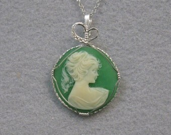Vintage Cameo and Sterling Silver Pendant