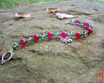 Bee Charm Bracelet (pink, green, and grey)