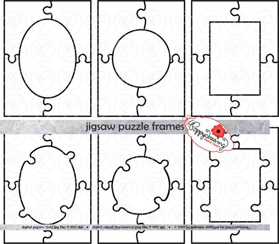 jigsaw puzzle frames template pdf and clipart set 300 dpi school teacher clip