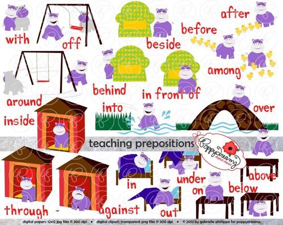 Teaching Prepositions Clipart & Digital Flashcards: Digital